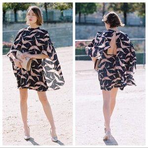 Valentino silk bird print dress